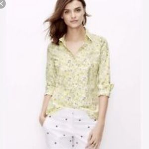 Ann Taylor Yellow Flowered Button Down Size 8